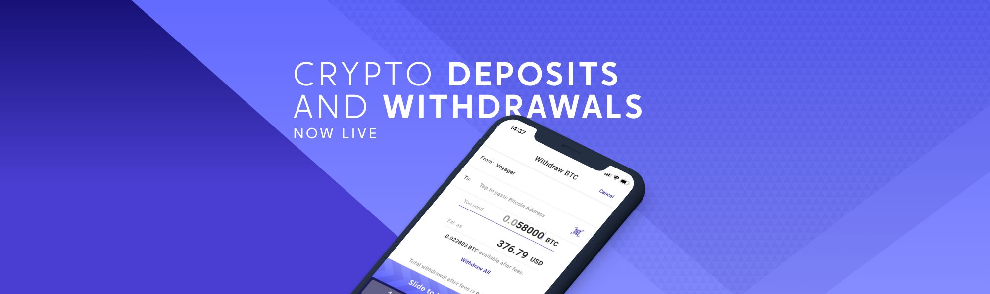 Crypto Deposits And Withdrawals Now Live